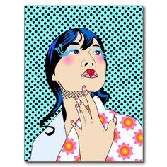 Japanese Girl Pop Art Postcard