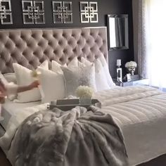 33 Inspiring Elegant Small Bedroom Decor Ideas You Must See - A small bedroom can be a big problem, especially when considering how important this space is to your psychological and emotional well… Glam Bedroom, Home Decor Bedroom, Modern Bedroom, Bedroom Bed, Ikea Bedroom, Master Bedroom Decorating Ideas, Master Bedroom Grey, Silver And Grey Bedroom, Couple Bedroom Decor