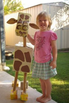 """Your students would enjoy creating giraffe projects using long wrapping paper cardboard rolls, cardboard boxes of various sizes, paint, tape, and glue for Roald Dahl's story """"The Giraffe, the Pelly, and Me.""""  Since the giraffe in this story has a neck that stretches, I would have my students design their cardboard giraffes with extra long necks."""