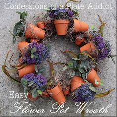 Lavender terra-cotta pot wreath :: DIY instructions using a grapevine wreath, twine, assorted terra cotta pots, floral foam AND lavender. Diy Spring Wreath, Diy Wreath, Wreath Crafts, Grapevine Wreath, Wreath Ideas, Succulent Wreath, Pottery Barn Inspired, Clay Pot Crafts, Floral Foam