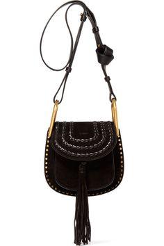 Chloé - Hudson Mini Whipstitched Suede Shoulder Bag - Black by: Chloé @Net-a-Porter (US)