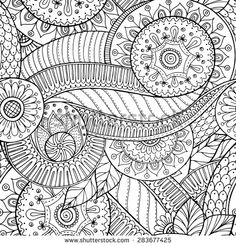 Seamless floral retro doodle black and white pattern in vect Coloring Pages To Print, Colouring Pages, Coloring Sheets, Coloring Books, Design Poster, Art Design, Tattoo Sketch, Free Adult Coloring, Flower Doodles
