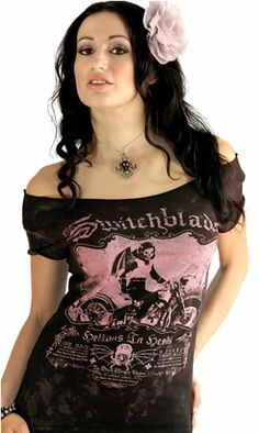 The Switchblades Off-the-Shoulder Tee Serpentine Clothing Goth Horror Punk Psychobilly Zombie Clothing Skirts Halloween Costumes