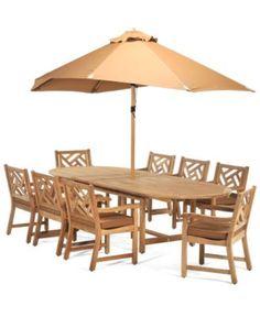"Haywood Teak Outdoor Patio Furniture, 9 Piece Dining Set (118""x47"" Dining Table, 8 Dining Chairs) - Outdoor Dining - furniture - Macy's"
