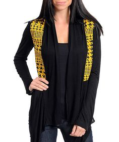 Take a look at this Black & Yellow Houndstooth Open Cardigan by Buy in America on #zulily today!