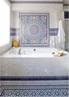 30 Moroccan-Inspired Tiles Looks For Your Interior : Interesting Moroccan Inspired Tiles With Marble Bathtub Decor Moroccan Tile Bathroom, Mosaic Bathroom, Moroccan Tiles, Moroccan Decor, Small Bathroom, Modern Moroccan, Modern Bathroom, Marble Bathtub, Moroccan Interiors
