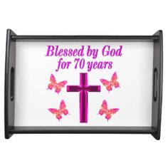 CHRISTIAN PINK 70TH BIRTHDAY CROSS DESIGN SERVING TRAY http://www.zazzle.com/jlpbirthday/gifts?cg=196361917885490522&rf=238246180177746410  #70thbirthday #70yearsold #Happy70thbirthday #70thbirthdaygift #70thbirthdayidea #Christian70th  #happy70th