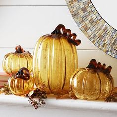 Whether it's the richness of the amber-caramel color or the crackled rock-candy texture of the glass, our spectacular pumpkins create an inordinate amount of visual impact for their size.