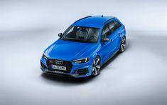 Download wallpapers Audi RS4 Avant, 2018, wagon, blue RS4, german cars, Quattro, Audi