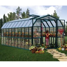 The Grand Gardener 2 Twin-wall is made with a heavy-duty extruded resin frame for improved insulation and durability. Virtually unbreakable twin-wall polycarbonate glazing creates a comfortable growing environment and diffuse light for even plant growth. The translucent, twin-wall polycarbonate panels also create a superb, light-weight insulation. The weatherproof frame on the Grand Gardener 2 features simplified assembly with the pin and lock system while the roof panels now simply slide…