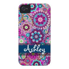Retro Floral Pattern with Name iPhone 4 Cover