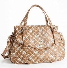 Marc by Marc Jacobs Static Plaid Aurora Satchel Bag Purse Tote Copper Penny Multi