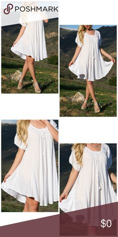 ✨Coming Soon! White Embroidered Swing Dress! NWT! This bohemian-inspired dress boasts lightweight fabric and a loose fit that casually floats around your curves. Fits sizes 0 to 12. 40'' long from high point of shoulder to hem. 100% rayon Dresses