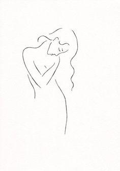 Original ink drawing. Black and white girl sketch. Minimalist line art.