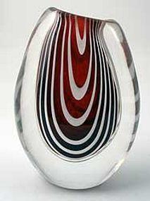 Kosta Zebra Glass Vase, Vicke Lindstrand