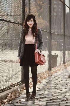 red and white striped shirt. grey cardigan. black skirt. black skirt. oxfords.