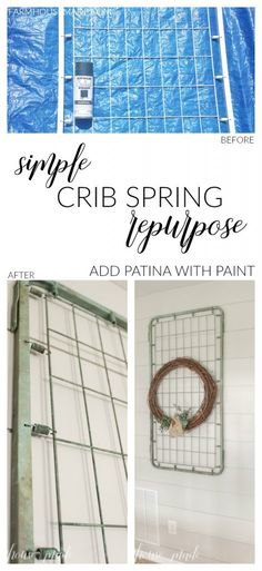 This crib spring looks perfect in the hallway by the bedrooms! I love how it adds character, and that patina -- Learn how to DIY that patina!!