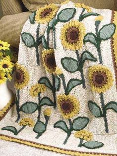 """Free pattern for this bright & cheery """"Sunflowers Lap Warmer""""!"""