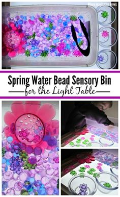 Spring water bead sensory bin for the light table! A simple fine motor activity for toddlers and preschoolers that encourages color learning, pattern making, sorting, and sensory exploration. Sensory Activities Toddlers, Sensory Rooms, Summer Activities For Kids, Sensory Bins, Motor Activities, Sensory Play, Infant Activities, Preschool Activities, Sensory Table