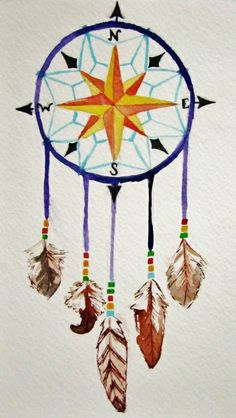 Compass Dream-catcher Art Print by Kristina Mar  A better compass inside with water color behind the dream catcher. One hanging feather should be a Skelton key