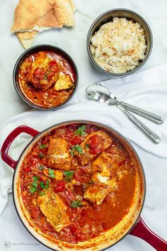 Fish Fillet Recipe, Shakshuka Style Cod fish fillet cooked with tomato sauce in braiser, served next Fish Filet Recipes, Cod Fillet Recipes, Cod Recipes, Spicy Recipes, Fish Recipes, Seafood Recipes, Cooking Recipes, Mediterranean Dishes, Mediterranean Diet Recipes