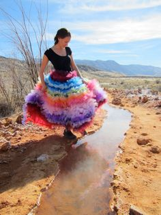 Rainbow of Awesomeness - Silk & Tulle Long Tutu Skirt