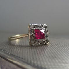 Deco Ruby Ring Gold and Platinum Diamonds and Ruby by Addy on Etsy, £240.00