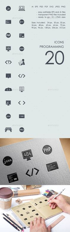 Programming icon design - Software Icon Design Template PSD, Vector EPS, Vector AI. Download here: http://graphicriver.net/item/programming-icons/16595601?ref=yinkira