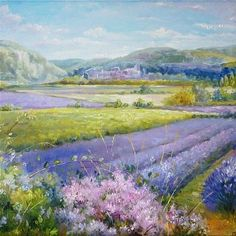 Lavender Fields in Old Provence by Timothy Easton Simple Oil Painting, Diy Painting, Watercolor Wallpaper, Watercolor Paintings, City Landscape, Landscape Paintings, Paintings Famous, Naive Art, Summer Art