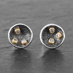 oxidised silver 3 diamond studs by adele taylor