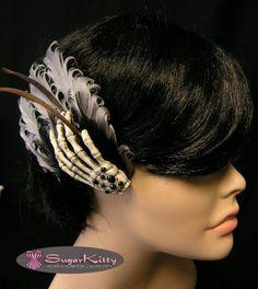 skeleton hand feather fascinator