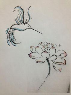 Hummingbird tattoo w/ peony - lower side of back or lower right calf