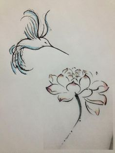 Hummingbird tattoo w/ peony - lower side of back or lower right calf