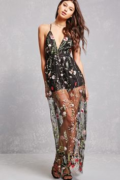 A maxi dress featuring a tulle overlay with allover colorful floral embroidery, a plunging V-neckline, adjustable cami straps that crisscross in the back, a concealed back zip closure, and a woven mini underlay.<p>- This is an independent brand and not a Forever 21 branded item.</p>