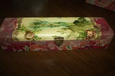 Antique Victorian Celluloid Glove Box Woodland Water Roses Scene