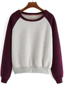 Raglan Sleeve Color-block Thicken Sweatshirt
