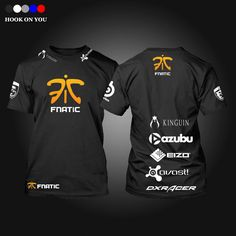 Free shipping CSGO LOL Champion Game Team Fnatic T Shirt O Neck cotton casual Tees steelseries Game Athletics T-Shirt