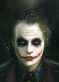 Fan Art of Heath Ledger as The Joker. (A Dark Knight) Maquillaje Halloween Joker, Halloween Kostüm, Halloween Makeup, Heath Joker, Heath Ledger Joker Makeup, Art Du Joker, Der Joker, Photos Joker, Joker Images