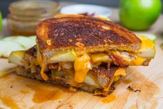 Caramel Apple Grilled Cheese Sandwich (with Bacon)  That combo of tart juicy apples with sweet caramel sauce is simply irresistible and the the sweet and savoury apple and cheddar combo is not too far behind so why not combine the two!