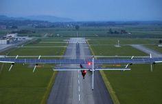 epa04236037 The new experimental aircraft Solar Impulse 2, HB-SIB, with Solar Impulse's German test pilot Markus Scherdel on board, takes of...