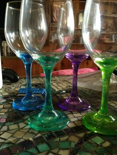 my newest craft. New Crafts, Cute Crafts, Arts And Crafts, Wine Glass Crafts, Wine Craft, Painted Wine Glasses, Stems, Cork, Stained Glass