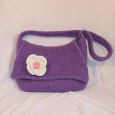 Felted Purse with Detachable Flower by rotomoto on Etsy, $30.00