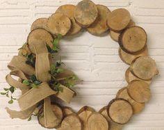 Hand Cut Rustic Wood Slice Wreath 8 by FuzzyMonkeyBoutique on Etsy