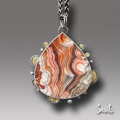 Art work available for on-line purchase. Citrine Gemstone, Lace Agate, Beautiful Patterns, Stone Jewelry, Sterling Silver Necklaces, Art Gallery, Bling, Gemstones, Pendant