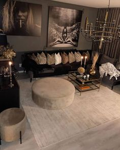 Home Decor Small Space Idea .Home Decor Small Space Idea Glam Living Room, Living Room Decor Cozy, Living Room Inspiration, Home Decor Inspiration, Decor Ideas, Decor Diy, Decorating Ideas, Black And Gold Living Room, Lounge Decor