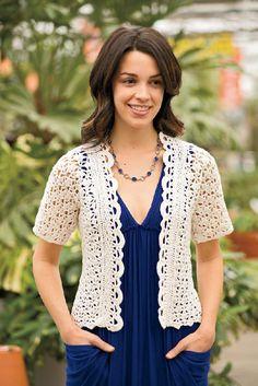 Crochetemoda: Casaqueto Branco de Crochet/Garden Party Sweater ~ Pattern in English Crochet Stitches Patterns, Lace Patterns, Clothing Patterns, Crochet Bolero Pattern, Crochet Jacket, Crochet Cardigan, Knit Crochet, Double Crochet, Crochet Summer