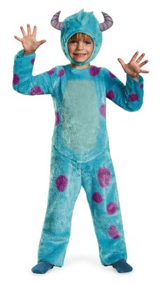 Fuzzy Sulley Monsters Toddler Halloween Costume - Hear him roar in this adorable Sulley from Monsters inc. Costume.This officially licensed costume is a one piece fuzzy jumpsuit with Velcro closures in the back and a removable tail. The fabric is super soft as well as the inside to keep your toddlers sensitive skin safe. #sulley #monstersinc #yyc #calgary #costume #infant #toddler