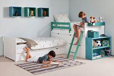 Łóżko dziecięce, pokój dla chłopców, pokój dziecięcy, pokój dla dziecka, pokój chłopięcy. Zobacz więcej na: https://www.homify.pl/katalogi-inspiracji/19591/jak-urzadzic-pokoj-dla-rodzenstwa-6-interesujacych-propozycji