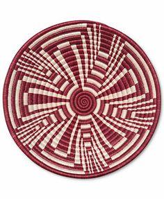 """Rwanda Basket, 12\"""" Red and White Fruit Bowl"""