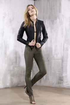 Khaki suede trousers with leather openwork elements - malubi.co Fashion for elegant woman who loves premium label.